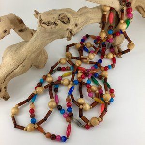VINTAGE . WOOD + GLASS BEADED NECKLACES . SET OF 2